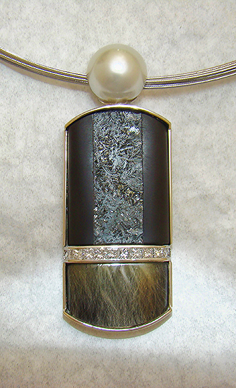 Award Winner 2012 - Pendant with Onyx, Pearl and Quartz