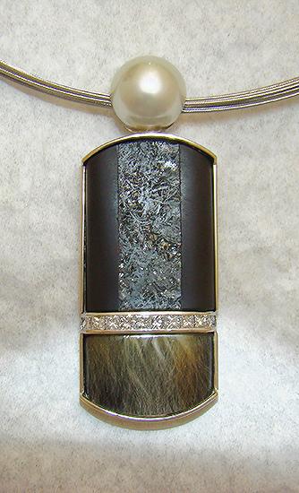 Award Winner 2012 - Pendant with Onyx, Pearl and Quartz