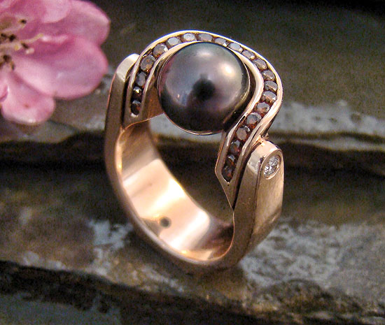 Award Winner 2010 - Rose Gold Pearl Ring with Cognac Diamonds #115