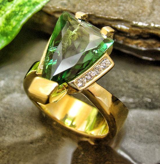 Award Winner 2010 - Fancy Green Tourmaline Ring #118