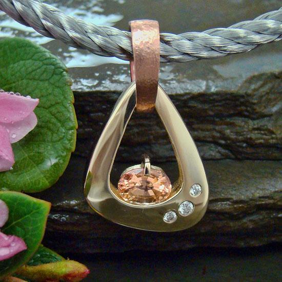 Award Winner 2010 -Peach Sapphire Pendant #123