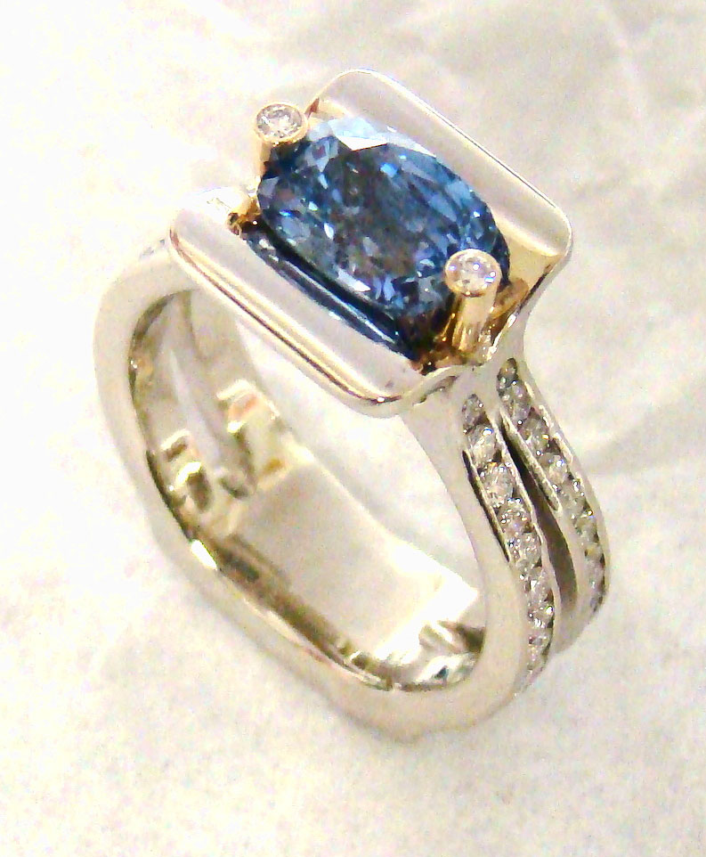 Blue Sapphire with Diamond Shank Award Ring #124