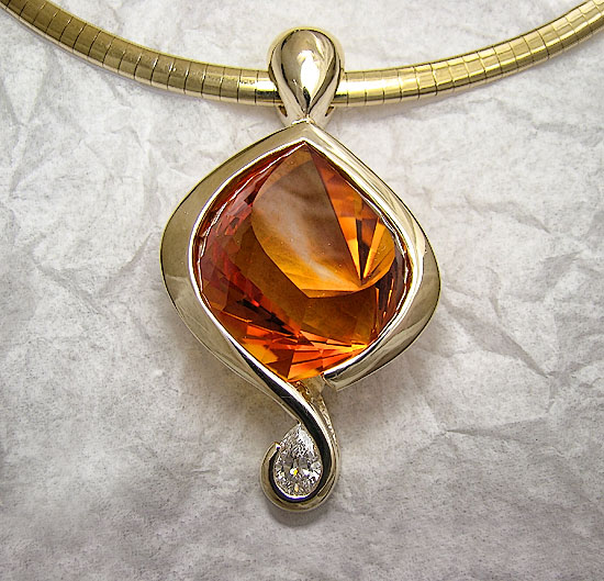 Fancy Citrine with Diamond Pendant #127