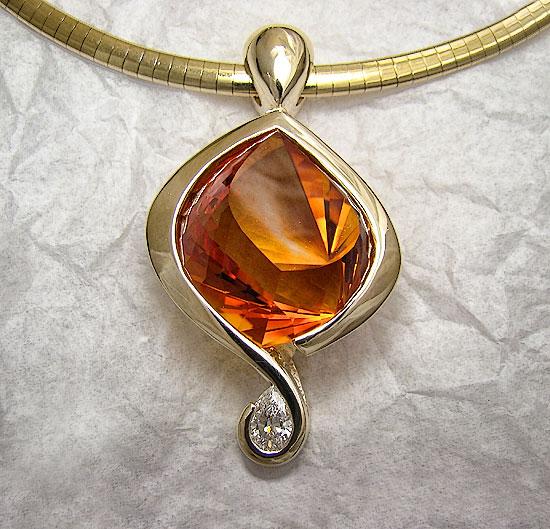 Fancy Citrine with Diamond Pendant #127