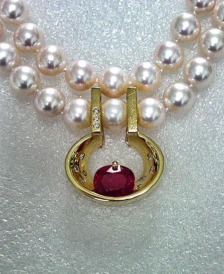 Ruby Diamond Pearl Enahncer Pendant #130