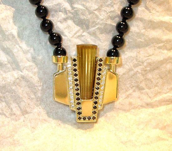 Deco Citrine Black Diamond  Pendant #133