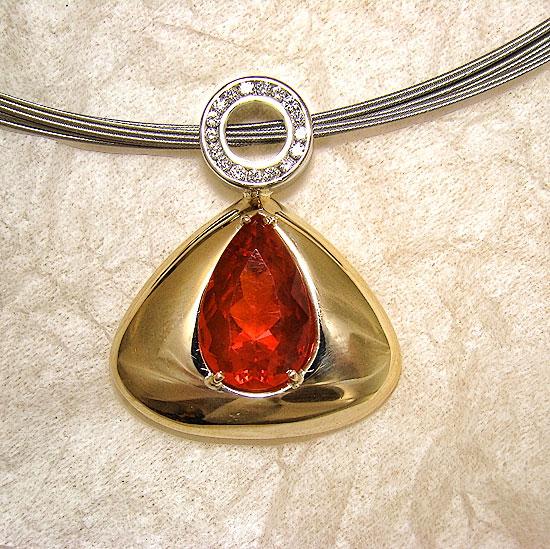Fire Opal Pendant #135