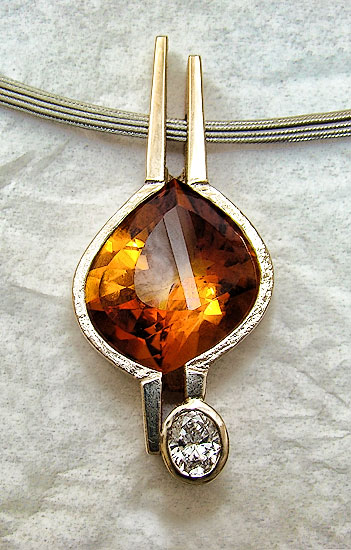Fancy Maderia Citrine & Diamond Pendant#139