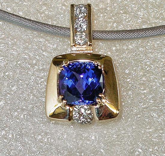 Tanzanite  and Diamond Pendant #140