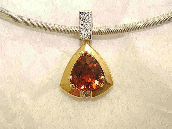 Small Maderia Trillion Citrine Pendant #144
