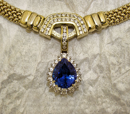 Tanzanite Diamond Hinged Pendant Enhancer #147