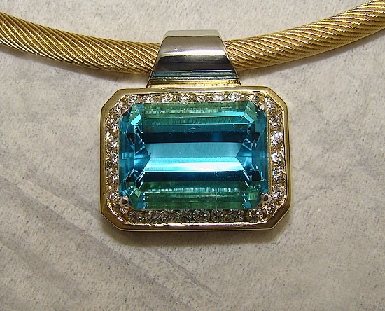 Emerald Cut Blue & Diamond Topaz Pendant #149