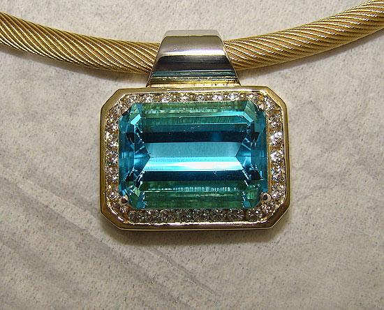 Emerald Cut Blue & Diamond Topaz Pendant #149