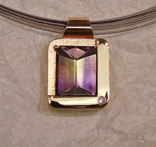 Amatrine Square Rose & Yellow Gold Pendant#153