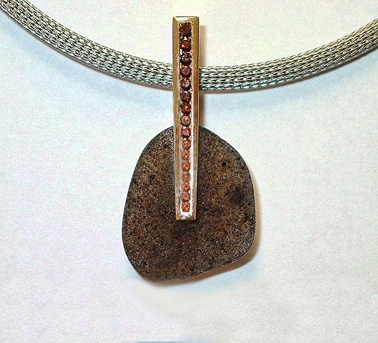 Drusy and Cognac Diamond Pendant#159