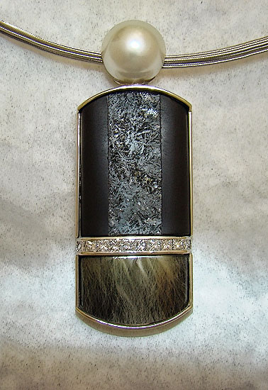 Onyx/Hematite with Rutil Quartz, Diamond and Pearl Pendant#161