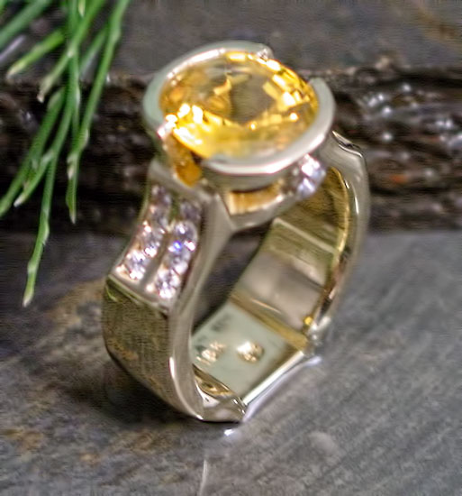 Yellow Sapphire and Diamond Ring #197