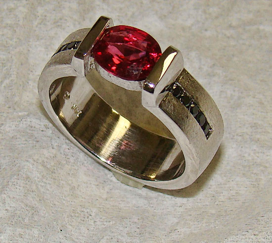 Gents Red Spinel Black Diamonds  in White Gold Ring #201