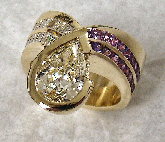 Pear Shape Diamond & Purple Sapphire Right Hand Ring #204