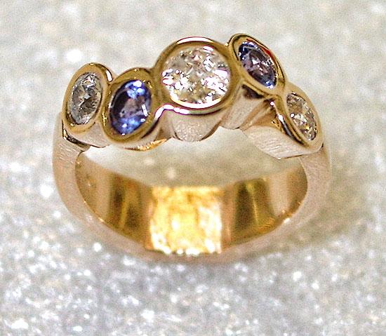 Triple Diamond, Double Tanzanite Ring #205