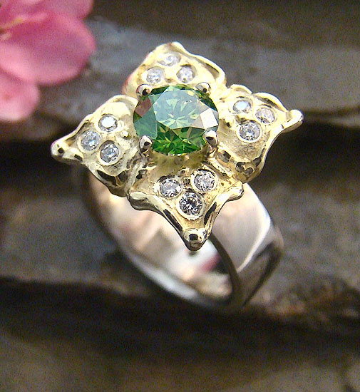 Green Diamond in Bloom  Ring #208