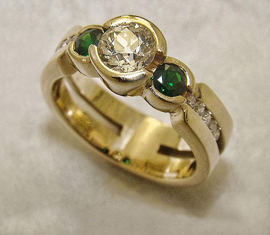 Diamond with Tsavorite Garnet Ring #211