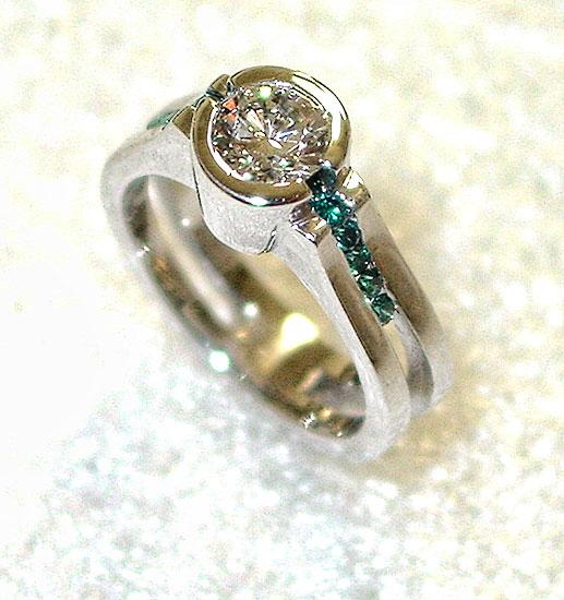 Diamond with Blue Diamonds in White Gold #218