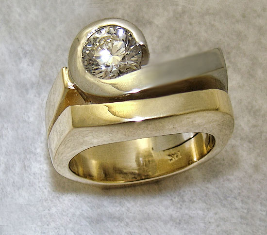 Two-tone Right Hand Diamond Ring 219