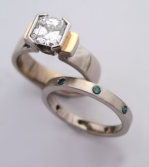 Ascher Cut Engagement Ring and Band #221