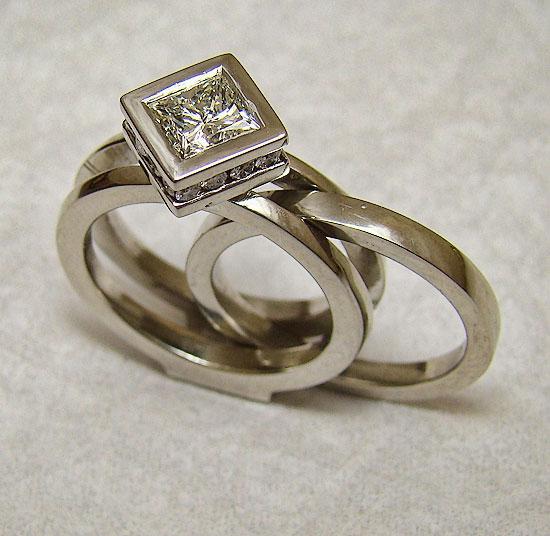 Princess Diamond on Diamond with insert Band Wedding Set #222