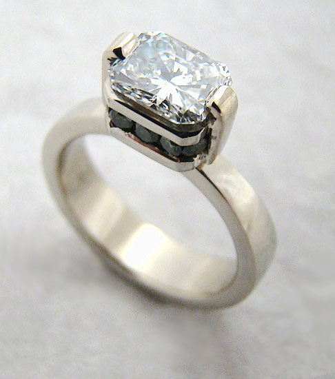 Radiant Diamond on Green Diamond Band #223