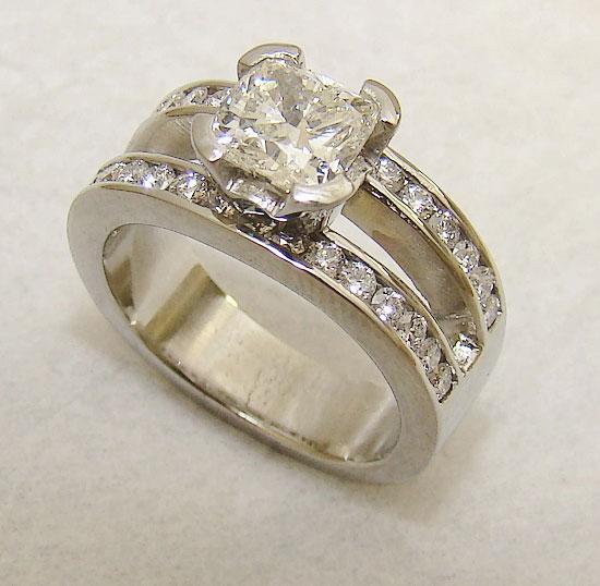 Ascher Diamond over Channel Diamond Ring #224