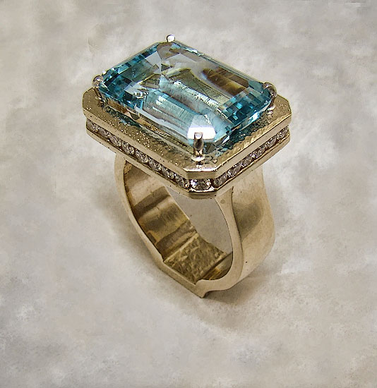 Blue Topaz with Diamond Frame #230