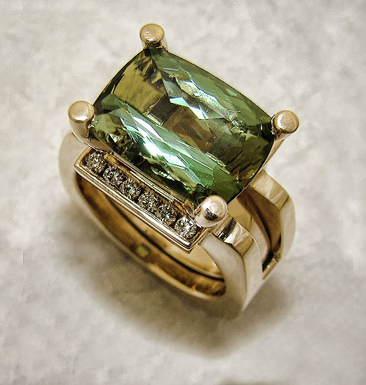 Green Tourmaline in Diamond Guard #231