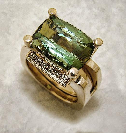 Green Tourmaline in Diamond Guard #231