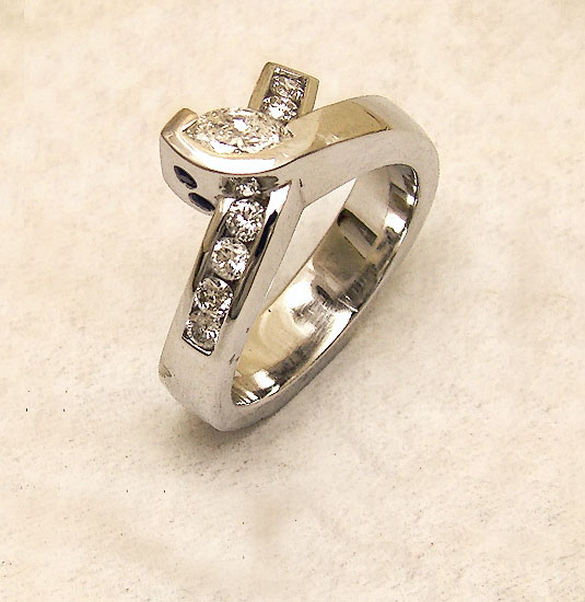 Right Hand Diamond Ring in White Gold #233