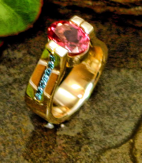 Pink Tourmaline Blue Diamond Ring #235