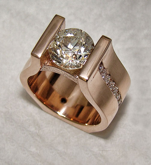 Rose Gold Mine Cut Diamond Ring #237