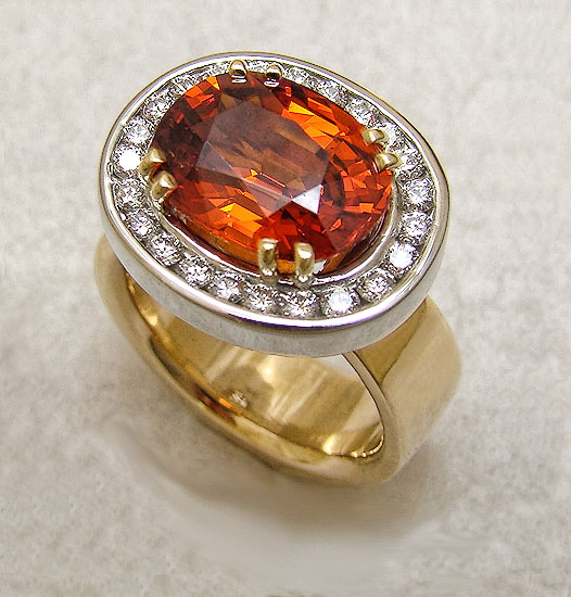 Spessartine Garnet & Diamond Ring #240