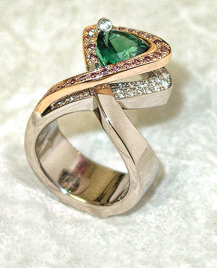 Tourmaline White and Pink Diamond Pave Ring #253