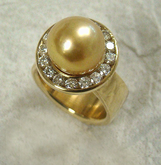 Gold South Sea Pearl and Diamond Ring #257