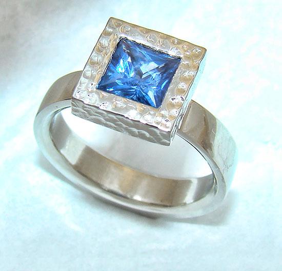 Blue Sapphire Square Ring #184