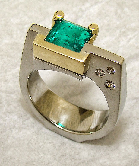 Emerald in White and 18K Yellow Gold Ring #212