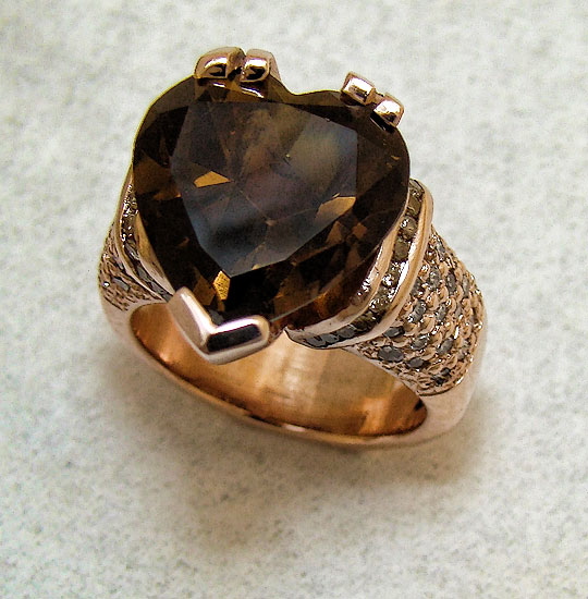 Heart Topaz Rose Gold Ring #216