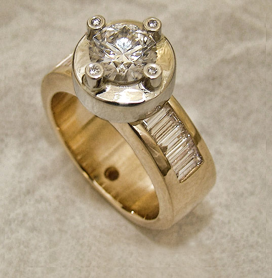 Diamond Ring with White Gold Accent and Baguetts Custom #163