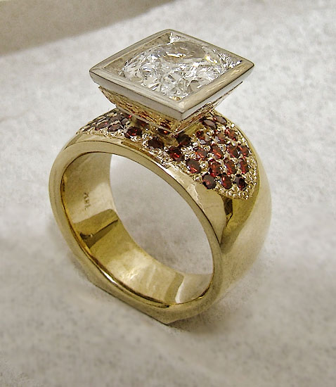 Diamond Ring with Pave Cognac Red Diamonds Custom #165