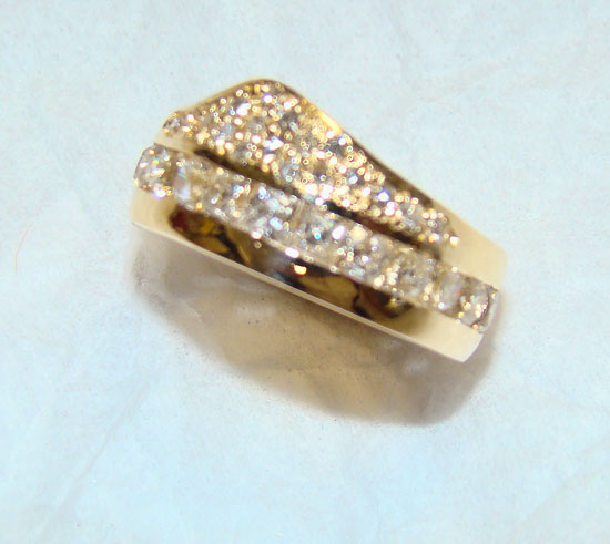 Princess Cut and Diamond Pave Band Custom #167