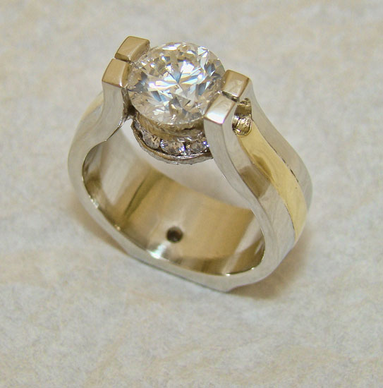 Diamond Ring with Yellow Gold Accent #171