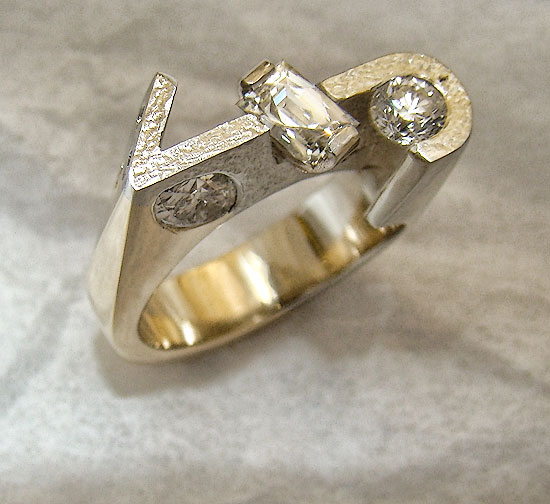 Custom Brand Two-tone Diamond Ring #195