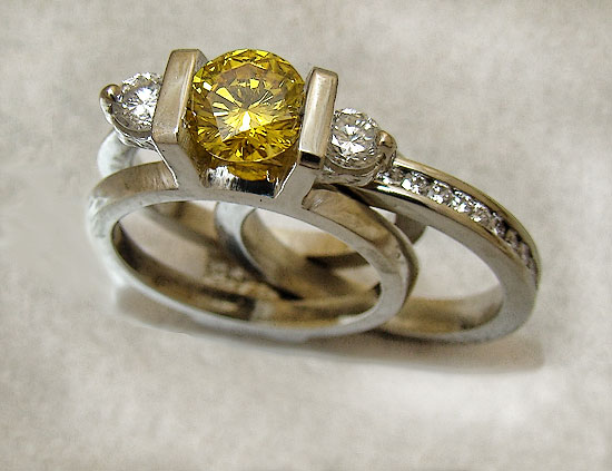 Canary 3Stone with Diamond Insert Wedding Set #176